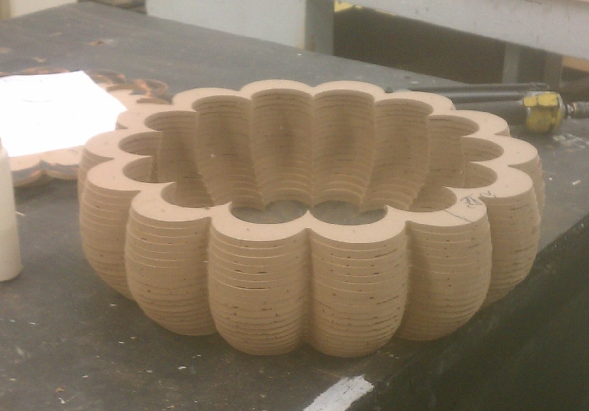 The top dome partially assembled.