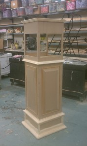 The base of the clock during assembly. All the molding was made for this clock except the 1/2 round.