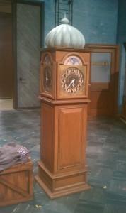 Finished clock under work lights.